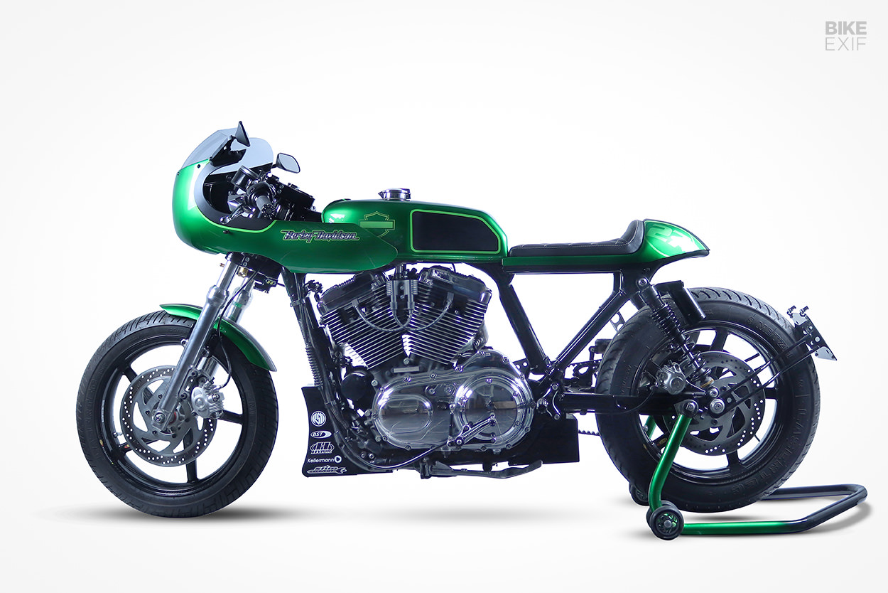 A Harley-Davidson Sportster cafe racer from the Czech Republic