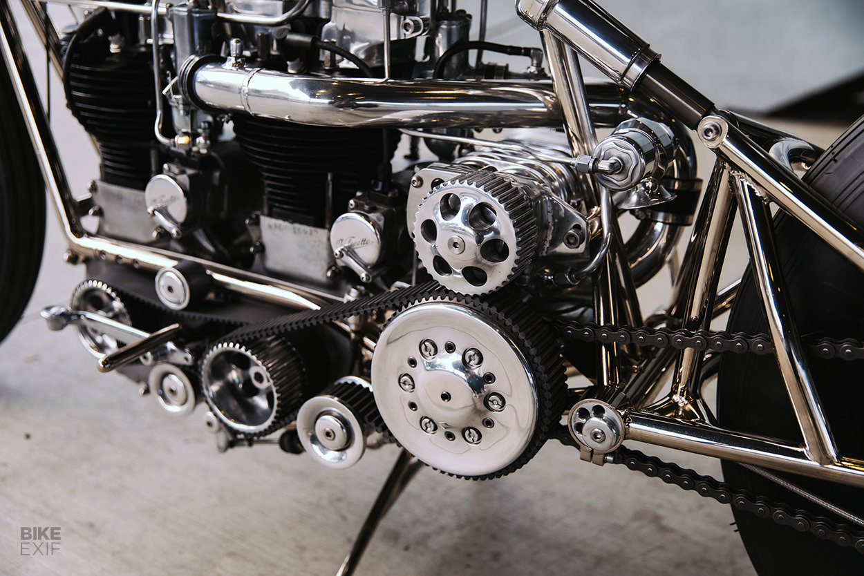 Custom twin-engined Velocette by Max Hazan