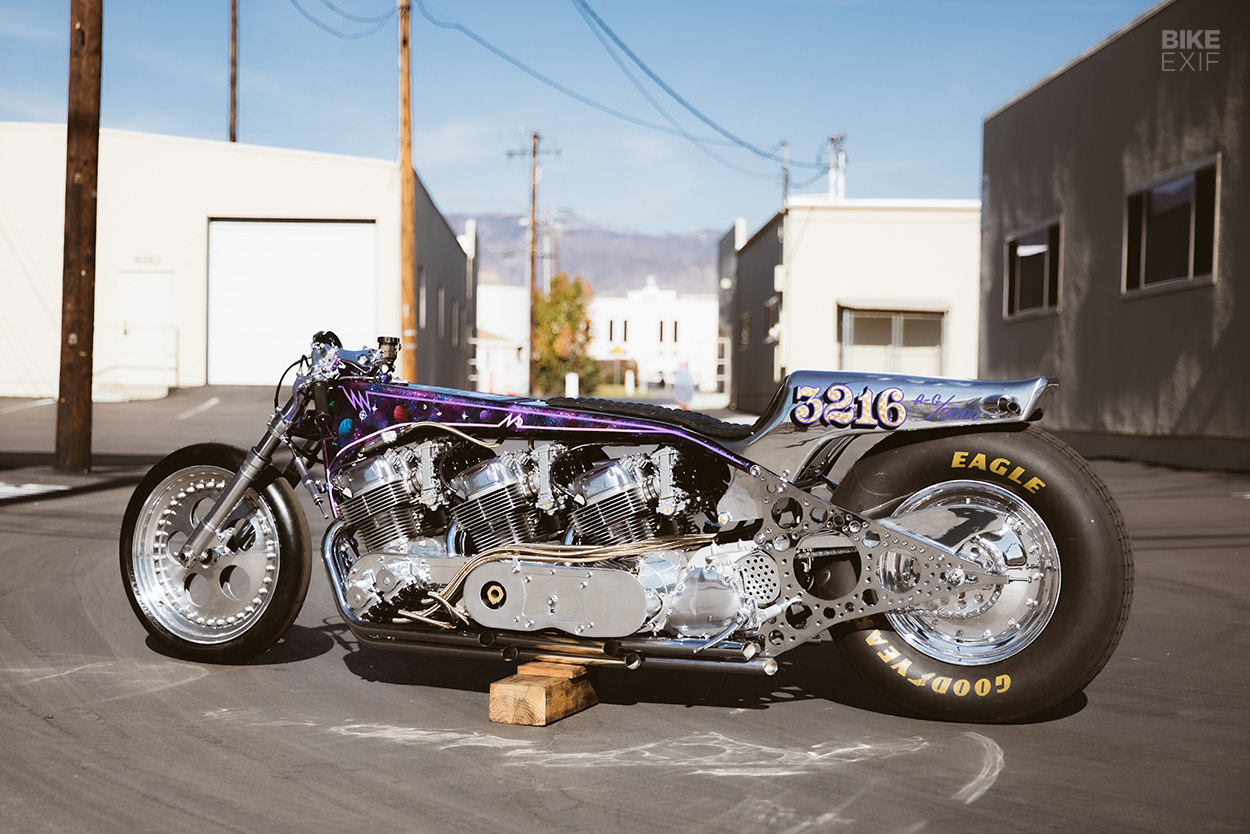 Three-engined Honda CB750 land speed racer by Kiyo's Garage
