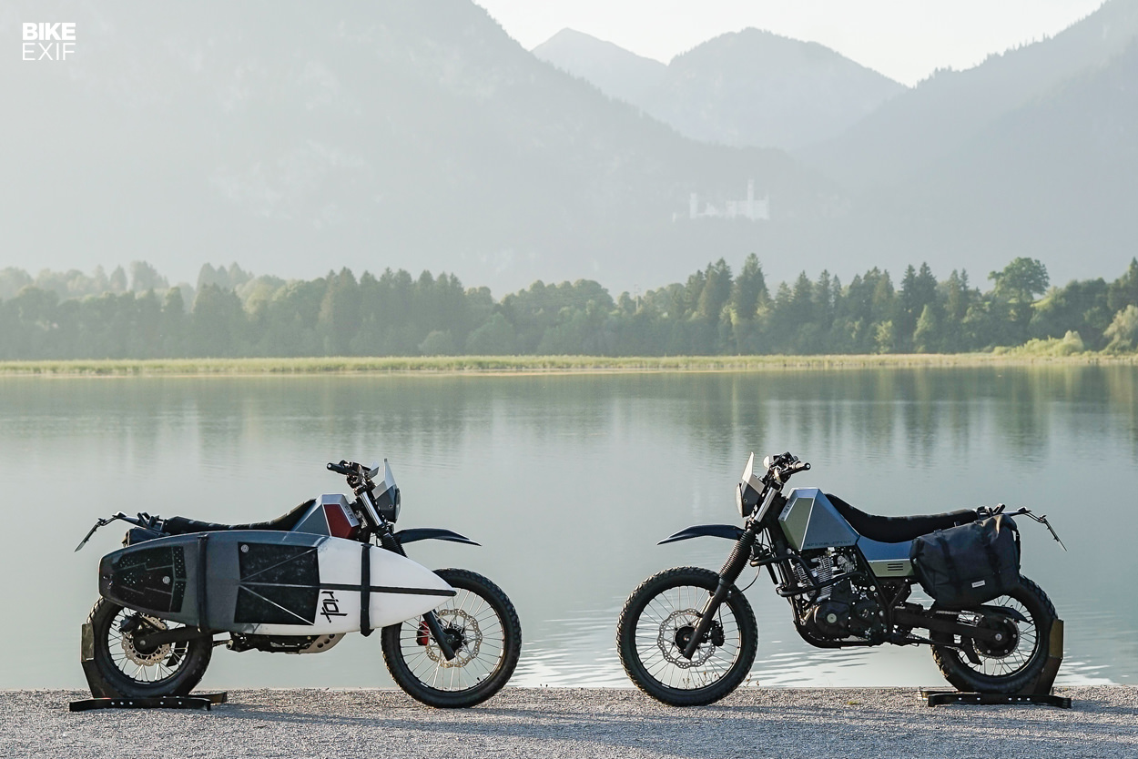 Custom Suzuki DR650s built by Crooked Motorcycles for Heimplanet