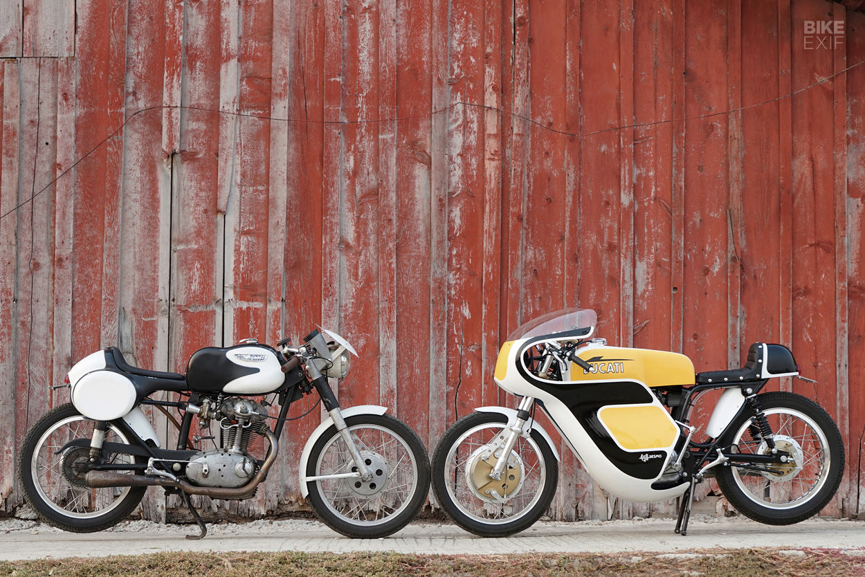 A pair of vintage Ducati singles from Union Motorcycle Classics